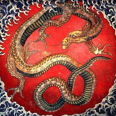 Dragon by Shika Hokusai Edo, Japan. Dragons, as depicted in Asian art, are benevolent Japanese Dragon, Chinese Dragon, Red Dragon, Dragon Art, Baby Dragon, Yellow Dragon, Japanese Prints, Japanese Art, Traditional Japanese