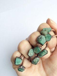 Rough emerald ring Raw Emerald birthstone ring Raw by HAWKHOUSE