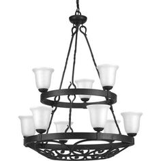 Progress Lighting - P4731-71 - Nine Light Chandelier - Gilded Iron