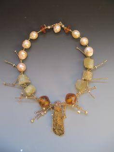 Pyrite, Antique Vaseline glass,Helidore,Freshwater pearls....  LuciaAntonelli.com