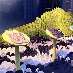 It's a sea of Havaianas (detail) at Macy's in San Francisco #havaianas #flipflops #thongs #brazil #footwear #rio