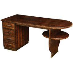 Eugene Printz French Art Deco Palmwood Double-Sided Desk | From a unique collection of antique and modern Desks and Writing Tables at https://www.1stdibs.com/furniture/tables/desks-writing-tables/.