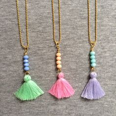 small size colorful fringe necklace VIOLET by FranzimJewelry