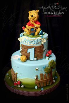 Baby Boy 1st Birthday Party, Kids Birthday Themes, Baby Birthday Cakes, Winnie The Pooh Cake, Winnie The Pooh Birthday, Bolo Cake, Sugar Cake, Disney Cakes, Celebration Cakes