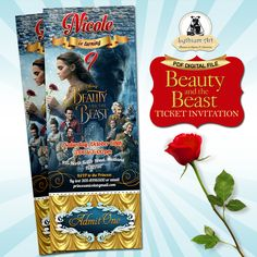 Beauty and The Beast Ticket Invitation - Movie Party Invitation - Beauty and The Beast Birthday Party - Printable Ticket Invitation de LythiumArt en Etsy