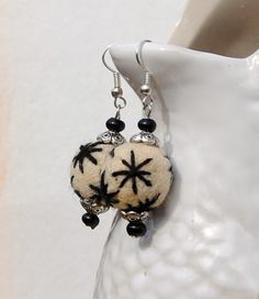 Felted Wool Earrings  Embroidered Felted Wool by RescuedOfferings, $17.00