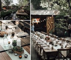 Sage Lamour Standard Runners add a bit of color to Rustic Wood Tables & Chairs at Sierra Water Gardens with Butter+Salt Catering Image by Calvin Hobson Photography.