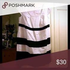 EShakti white with black and blue stripes dress EShakti white with black and blue stripes, knee length dress, back zip, custom size - about a 24 eshakti Dresses