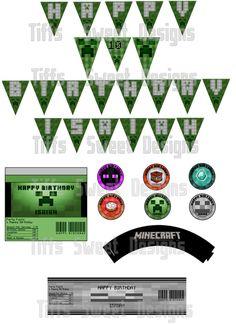 Minecraft Party Kit - DIY- Personalized - Printable. $8.00, via Etsy.
