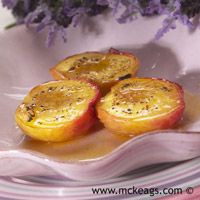 Oven Roasted Peaches in Lavender & Honey with Semifreddo