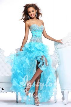 aqua strapless high-low tiered ruffled prom dress with jeweled bodice