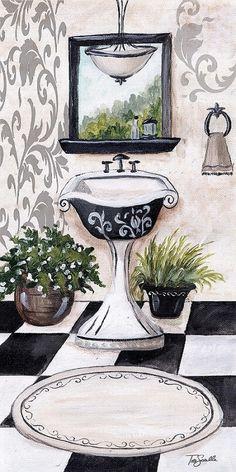 Black Damask Bath Sink (Tre Sorelle Studios)