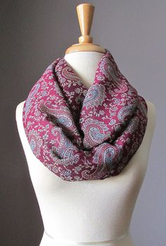 Infinity scarf Maroon Scarf  red scarf dark red  by ScarfObsession