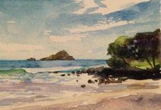 Vosberg Original ACEO Watercolor Tropical Beach Hana Maui Island Hawaii
