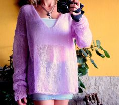 Handknit V Neck Sweater Knit Tunic Grunge Sweater Loose Knit Sweater Mohair Blouse by MyAqua on Etsy