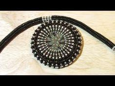 Beaded bezel polymer clay disc (Peyote Stitch - RAW) and Herringbone necklace | Beaded Jewelry  http://www.sararmoniasara.com .____. http://www.beadsfriends.com  Facebook ------°°°° http://www.facebook.com/BeadsFriends  To contact me, send an email to sara@beadsfriends.com