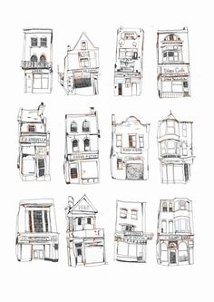 Shop fronts doodles illustrations by Melody Seal Urban Sketchers, Building Illustration, Illustration Art, Illustrations, Large Prints, Fine Art Prints, Drawing Sketches, Art Drawings, Drawing Ideas