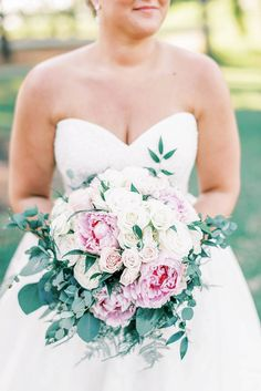 Pink and white bridal bouquet filled with peonies and roses and ferns for classic Outer Banks wedding during COVID19 #bouquets #bride #bridal #bouquet #flowers #floral #weddingflowers #peonies #weddingideas #weddings Ceremony Arch, Outdoor Ceremony, Wedding Bouquets, Wedding Flowers, Wedding Dresses, Pale Pink, Pink Grey, Bouquet Flowers, Wedding Flower Inspiration
