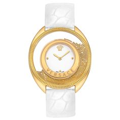 Versace Watch, Destiny Spirit, Golden Case, White Dial, White Calf Alligator Strap - 86Q70D002-S001