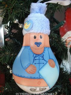 $22.00 free shipping - Boy Babys First Christmas Lightbulb Ornament via Etsy Will personalize on blanket!