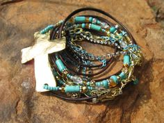 Boho Gold  Endless Leather and Turquoise Wrap by fleurdesignz