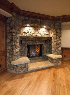 Love the seats!!! Rustic Fireplace Mantels, Fireplace Built Ins, Mantles, Fireplace Seating, Fireplace Ideas, Basement Fireplace, Stone Fireplaces, Fireplace Frame, Inglenook Fireplace