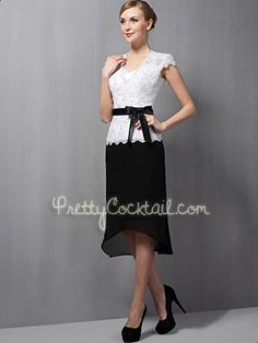 Black White Sheath Chiffon Lace Short V-Neck Cap Sleeve Cocktail Dress - US$ 116.99 - Style PCK3737 - Pretty Cocktail