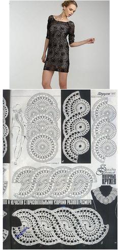 Black Crochet dress with free diagram Crochet Diagram, Crochet Chart, Crochet Motif, Crochet Designs, Crochet Doilies, Crochet Stitches, Cardigan Au Crochet, Gilet Crochet, Knit Crochet