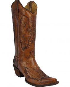 Circle G Women's Burnished Cross Snip Toe Cowgirl Boots L5845