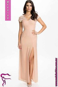 e709fa99acd4 Lace V Back Maxi Dress - Elise Ryan - Nude - Partykleider - Kleidung -  Damen - Nelly.