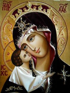 """""""When you are about to pray to our Lady the Holy Virgin, be firmly assured, before praying, that you will not depart from her without having received mercy. Religious Pictures, Religious Icons, Religious Art, Blessed Mother Mary, Divine Mother, Greek Icons, La Madone, Queen Of Heaven, Mama Mary"""