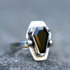 Custom Color Brilliant Gemstone Coffin Ring Sterling Silver Free Domestic Shipping
