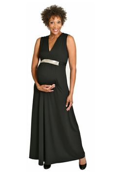 Strapless black maternity maxi dress