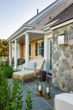 The 2015 master bedroom also features a patio surrounded by shrubs planted to create a living privacy fence.
