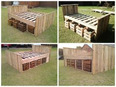 A complete palletbed frame made from repurposed pallets and with four drawers on each side to store all your things. The drawers could also be done from pallets or you can use some old apple wooden crates. An excellent design for this pallet bed! Pallet Bed Frames, Diy Pallet Bed, Pallet Crafts, Diy Pallet Projects, Pallet Couch, Wood Projects, Recycled Pallets, Wooden Pallets, 1001 Pallets