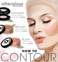 How To Contour Your Face in 3 Easy Steps Contour makeup makes your face look thinner and more sculpted. Here's how to contour your face using Afterglow's Organic Infused Eye-shadow in feather, Glow Bronzer in medium and Blush in majestic. Get your trio here http://www.afterglowcosmetics.com/face/