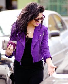 Purple suede // #textures #purple #coat #layers #fashion