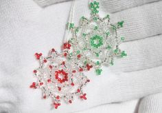One to give ~ one to keep! Beaded Snowflake Ornament 2 for $20 by TheCrystalSnowflake on Etsy, $20.00