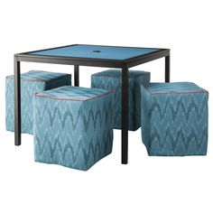 Threshold™ Meeker 5-Piece Upholstered Patio Ottoman & Table Tuck Under Furniture Set