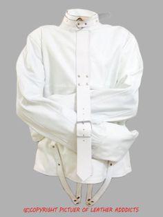 100% Pure #White #Leather Bondage #Strait #Jacket #Gay Fetish With Choice Of Lining (SJWHT) From: £80