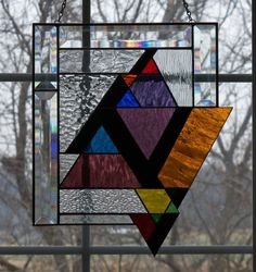 Abstract Triangles Stained Glass Window Panel | eBay