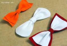 No-Sew Felt Bows - a few more felt bow ideas. I love working with felt and hate sewing - these are ideal. Either as gift attachments, or with a bow-tie clip in back, or a pin, or whatever...