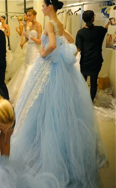 Oscar de la Renta be still my heart for this frothy confection of lighter-than-air pastel blue ballgown with sweeping train in tulle and lace