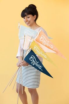 DIY Graduation pennants for grad party  celebrations and ceremonies
