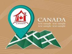 Mapa con bandera puntero Canadá vector ilustración eps 10 Ilustración De Stock