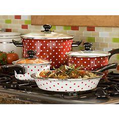 Red & White Polka Dot Cookware (How fun)