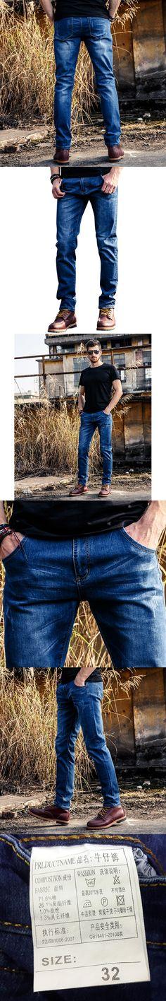 full length Men's fashion stretch denim jeans Slim regular cotton blue color painted straight pants Long trousers23