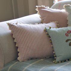 Rose/Ivory Stripe Cushion