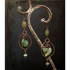 Envy, Is It Really Green Ceramic Green Leaf Earrings, Woodland... ❤ liked on Polyvore featuring jewelry, earrings, copper wire jewelry, leaf jewelry, leaf earrings, copper jewelry and leaves jewelry