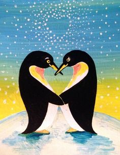 """Learn how to paint """"Penguins Love"""" - part of the Paint Nite library created by Divinity Chan, Vancouver artist. Ask your local Paint Nite licensee/artist in your area to schedule it for the next event. Couple Painting, Love Painting, Winter Painting, Paint And Sip, Christmas Art, Bird Art, Rock Art, Painting Inspiration, Art Lessons"""